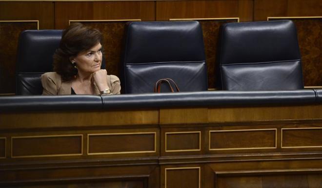 La vicepresidenta y ministra de Igualdad, Carmen Calvo, tras la...