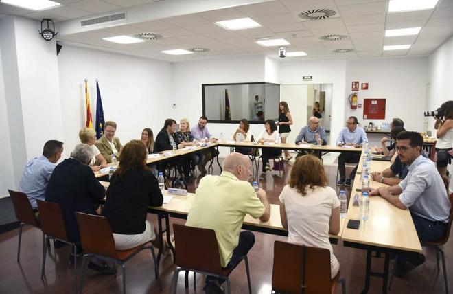 Los miembros de la Ejecutiva del PDeCAT en la reunión del pasado 27 de agosto en la sede del partido en Barcelona.