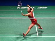 Carolina Marín, durante la final del Open de Japón ante Nozomi Okuhara.