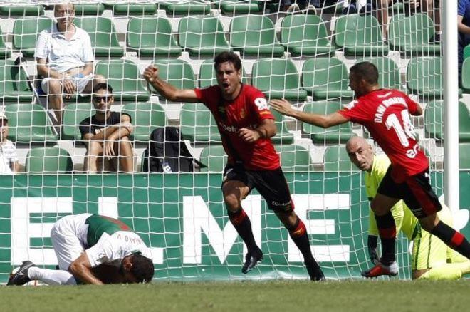 Celebración del primer gol del Mallorca.