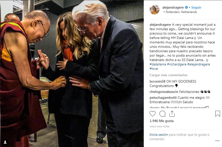 Richard Gere y Alejandra Silva confirman su embarazo junto al Dalai Lama