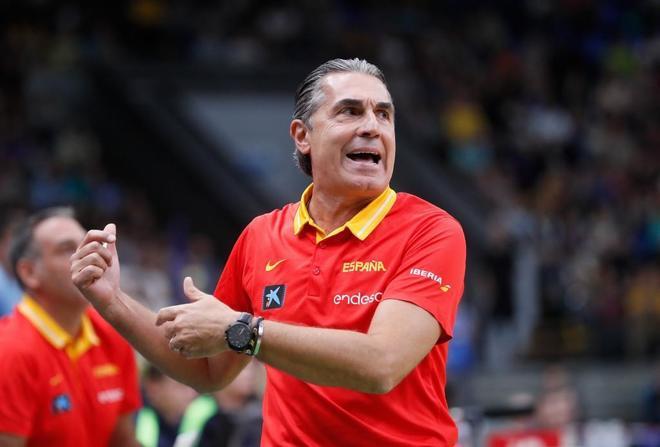 Sergio Scariolo, durante el partido de clasificación ante Ucrania