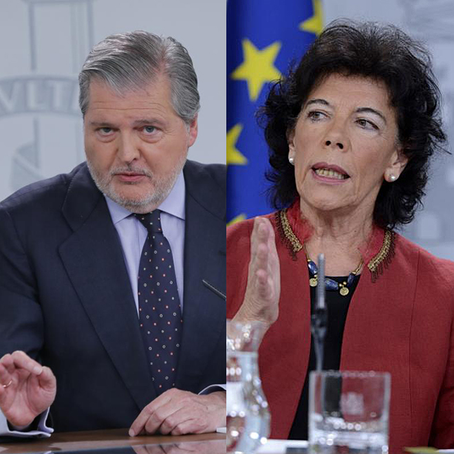 El ex ministro de Educación Íñigo Méndez de Vigo y su sucesora, Isabel Celaá.