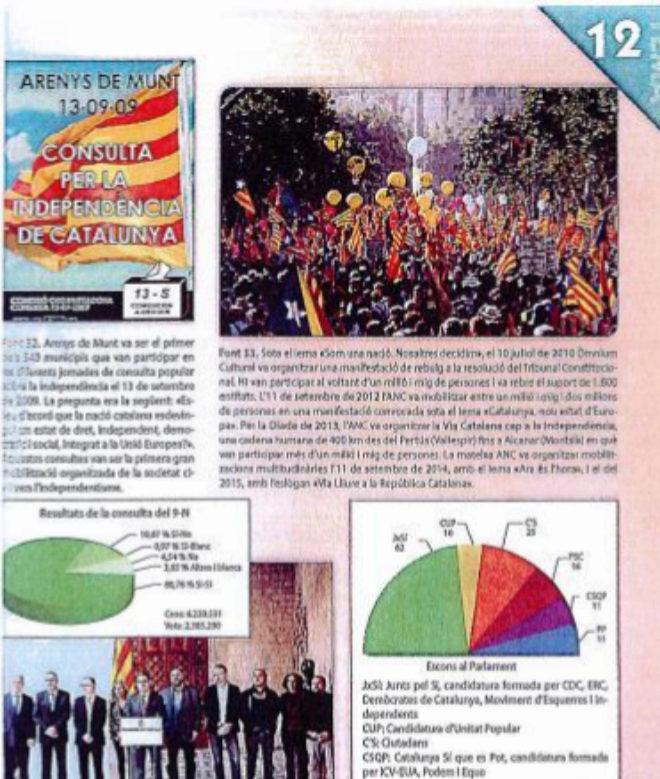 """Contenidos de 'Socials' de 4º de la ESO de Barcanova que """"ignoran los argumentos de los partidos constitucionalistas""""  y reflejan sólo los datos ofrecidos por una de las partes, según el informe."""
