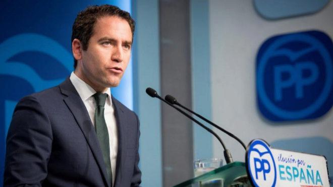 Teodoro García Egea, secretario general del PP, en rueda de prensa.