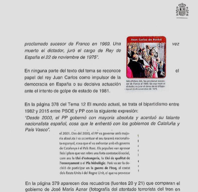 Lo que dicen los libros de texto catalanes