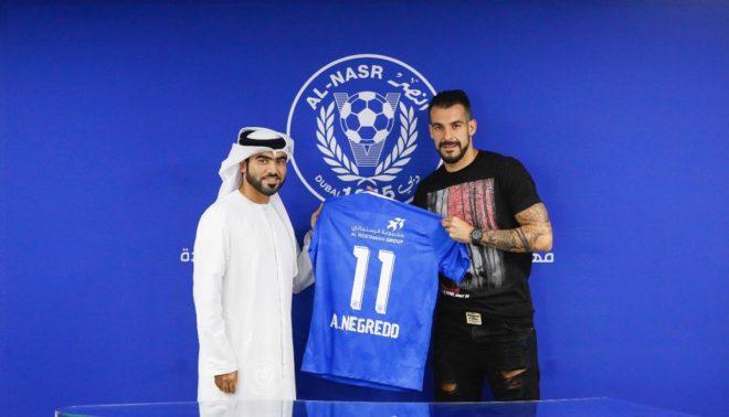 Negredo, durante su presentación como jugador del Al Nasr.