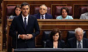Pedro Sánchez, en la sesión de control al Gobierno este miércoles...