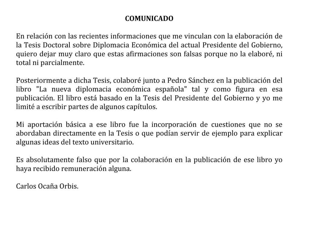 Comunicado del economista Carlos Ocaña remitido a Efe en el que niega...