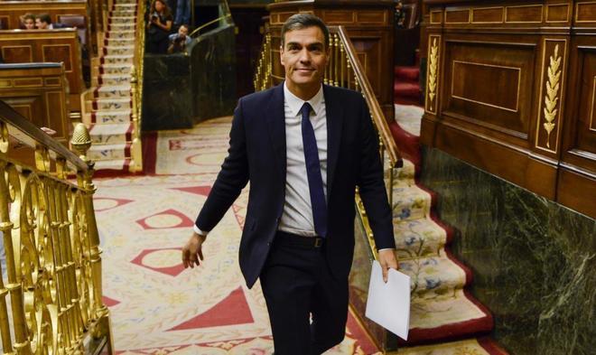El presidente del Gobierno, Pedro Sánchez en el Pleno del Congreso de los Diputados