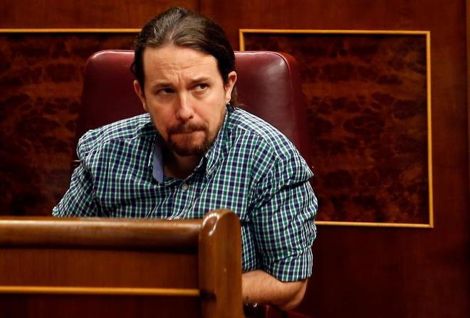 Pablo Iglesias, en su escaño este jueves.