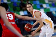 La jugadora de España Laura Gil durante un partido ante Japón previo al Mundial de Baloncesto femenino