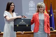 Carmen Montón, en el traspaso de la cartera de Sanidad tras su dimisión como ministra.