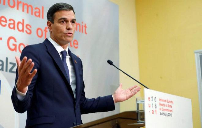 El presidente del Gobierno, Pedro Sánchez, en la cumbre europea en Salzburgo