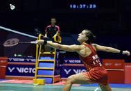 Carolina Marín disputa un punto durante las semifinales del Abierto de China.