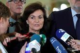 La vicepresidenta del Gobierno, Carmen Calvo, en declaraciones a los...