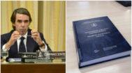 A la izquierda, el expersidente del Gobierno, José María Aznar, en su comparecencia en el Congreso por la trama Gürtel. A la derecha, la tesis doctoral del presidente del Gobierno, Pedro Sánchez.
