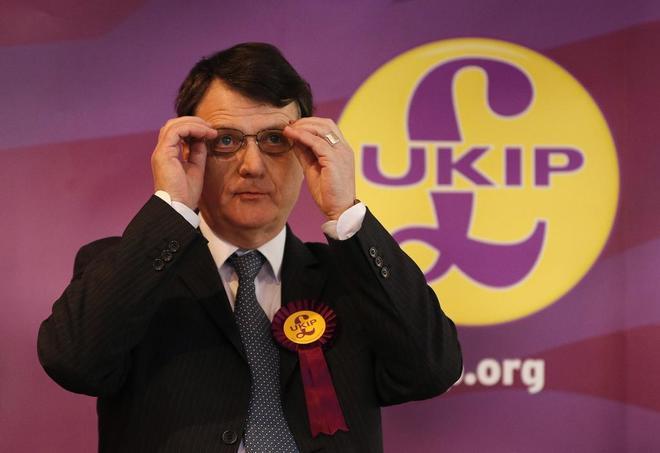 El nuevo líder el Ukip, Gerard Batten, durante una conferencia en Stoke on Trent.