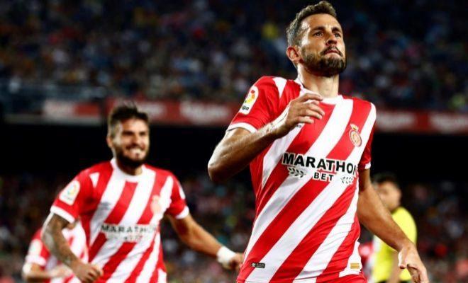 Stuani festeja su segundo gol de la noche en el Camp Nou.