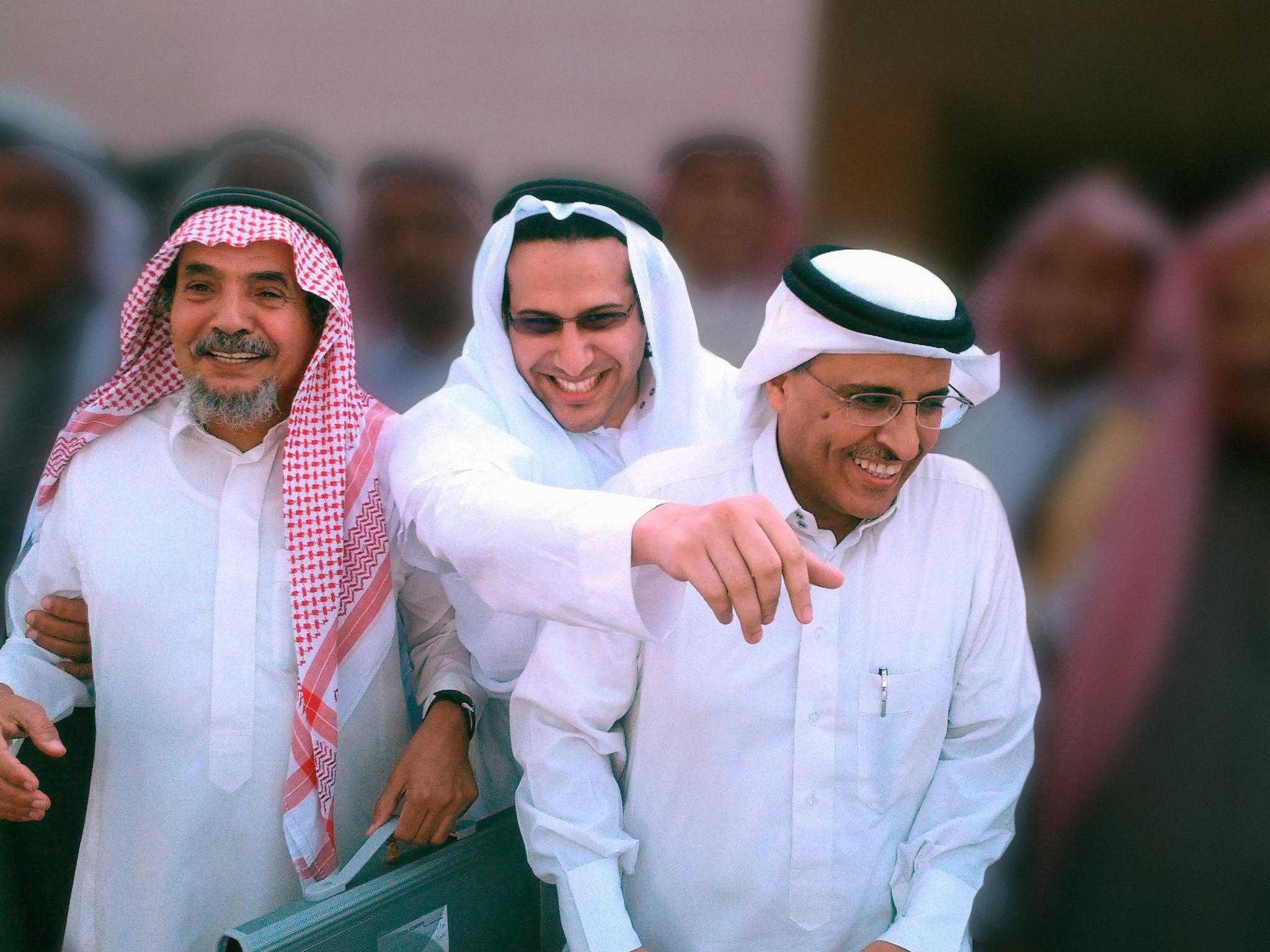 Los laureados Abdalá al Hamid, Mohamed Fahad al Qahtani y Walid Abu al Jair.