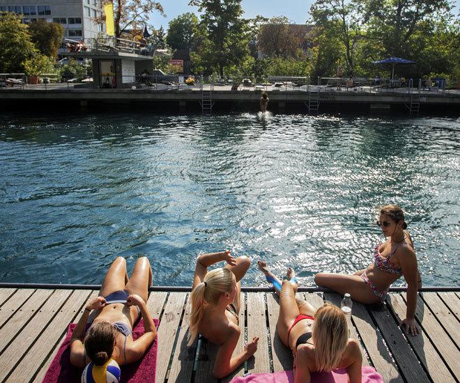 Las piscinas naturales y gratuitas del río Limmat.