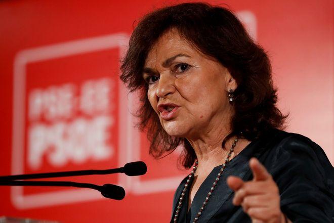La vicepresidenta del Gobierno, Carmen Calvo, en un acto político...