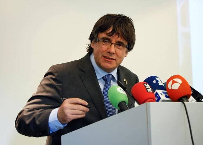 El ex presidente de la Generalitat Carles Puigdemont, en un acto en Hasselt (Flandes), el pasado miércoles.