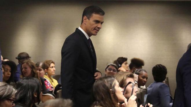 Pedro Sánchez, a su llegada al acto 'Violencia contra las mujeres y jóvenes con discapacidad', organizado por la ONU en Nueva York.