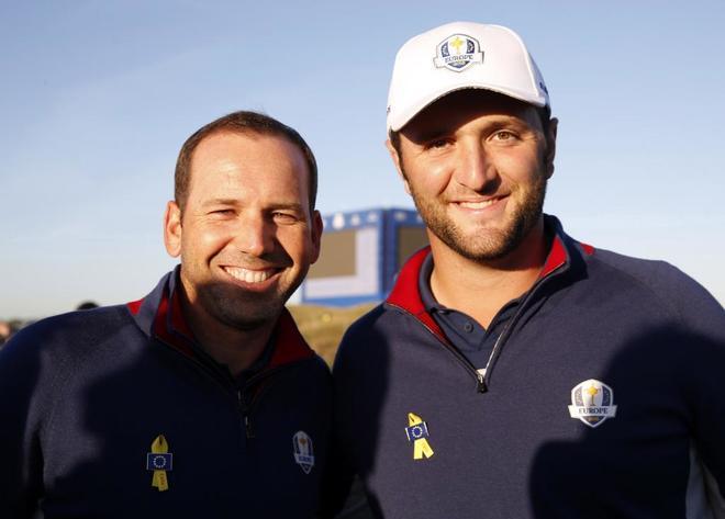 Sergio García y Jon Rahm, durante la primera jornada de entrenamientos.