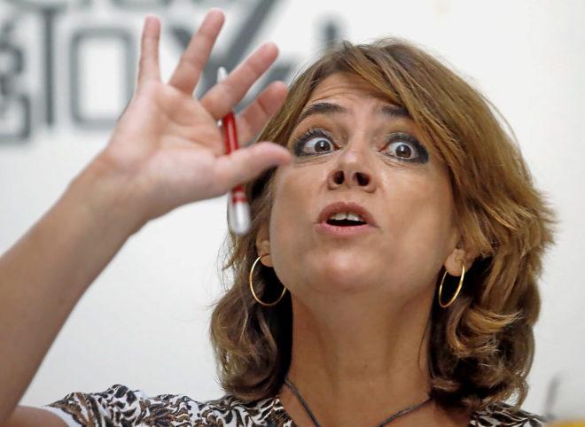 Dolores Delgado, ministra de Justicia, ayer durante un desayuno...