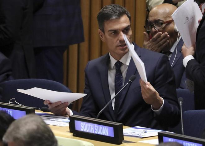 Pedro Sánchez, en una reunión celebrada en la sede de Naciones...