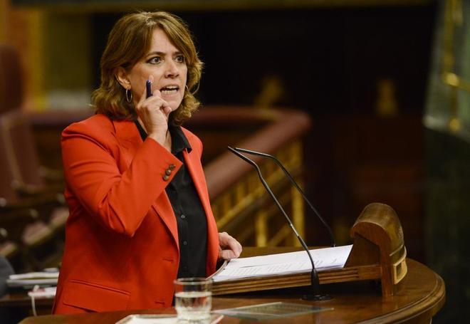 La ministra de Justicia, Dolores Delgado, ayer, en el Pleno del Congreso de los Diputados.