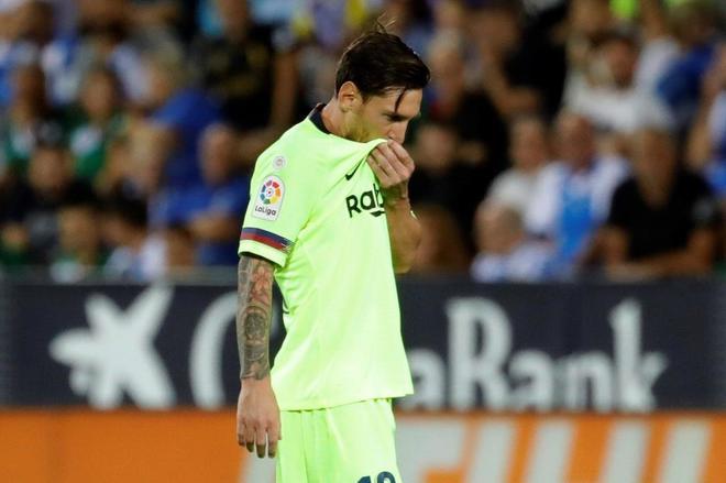 Lionel Messi, durante el partido que el Barcelona perdió en Leganés.