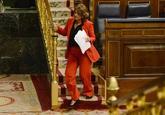 La ministra de Justicia, Dolores Delgado, en el hemiciclo durante la...