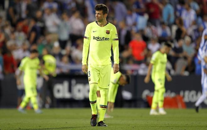 Gerard Piqué, durante la última derrota del Barcelona en Butarque frente al Leganés