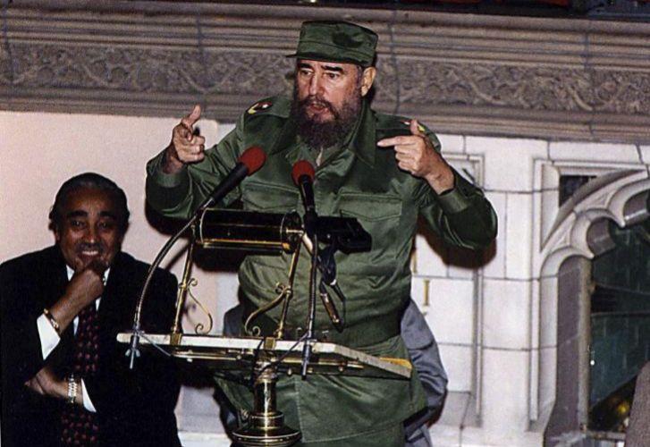 Fidel Castro durante su visita a la iglesia Riverside en Harlem, Nueva York,