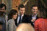 La vicepresidenta del Gobierno, Carmen Calvo, junto a los presidentes...