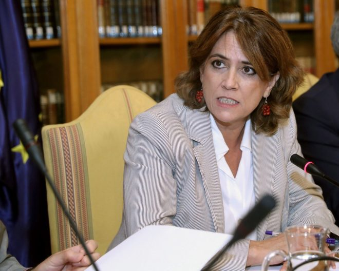 La ministra de Justicia, Dolores Delgado, durante la reunión de la...