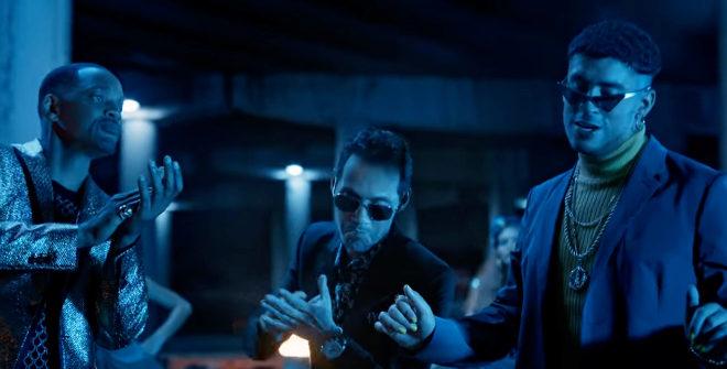 Will Smith, Marc Anthony y Bad Bunny en el videoclip de Está Rico