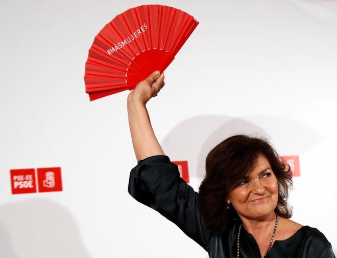 La vicepresidenta del Gobierno, Carmen Calvo, durante su participación en un acto político organizado por el PSE-EE en San Sebastián.