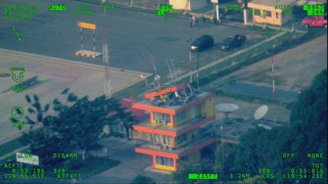 Imagen de la torre de control del aeropuerto de Palu tras el terremoto.