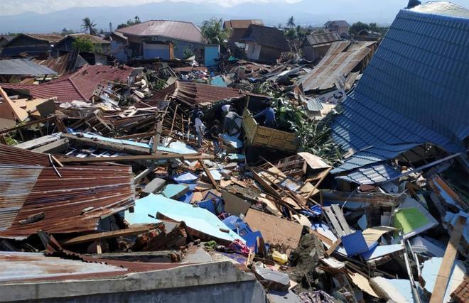 Casas derribadas por el terremoto y el tsunami en la ciudad de Palu, en Indonesia.