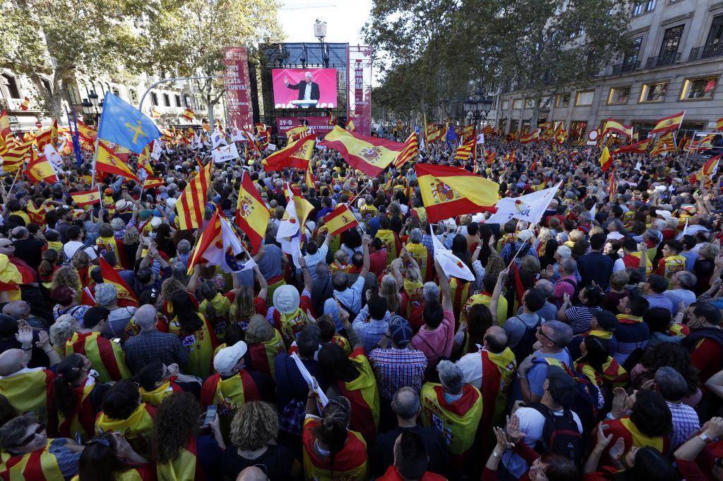 Manifestacion por la unidad de España convocada por Societat Civil Catalana en el Paseo de Gracia de Barcelona.