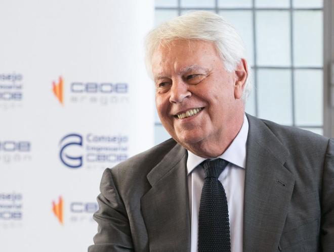 Felipe González, este martes en Zaragoza.