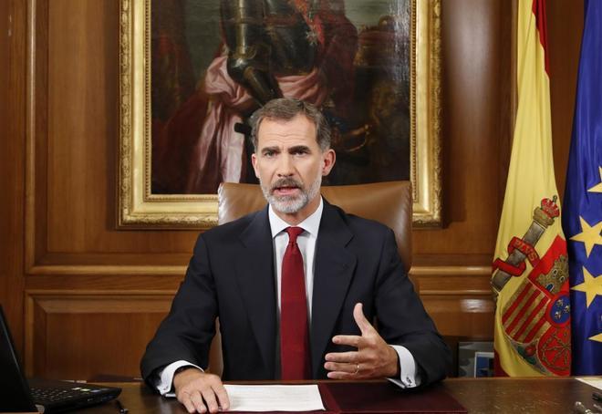 El Rey pronuncia su discurso el 3 de octubre de 2017, dos días después del referéndum ilegal en Cataluña.