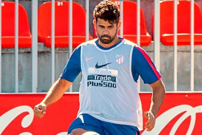 Diego Costa en un entrenamiento del Atlético de Madrid