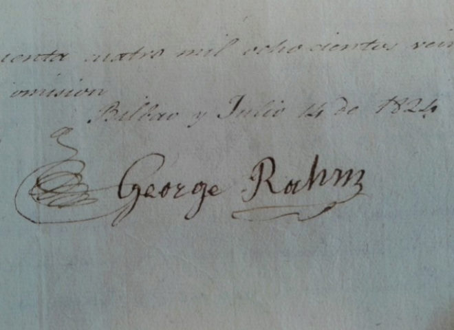 Un documento firmado por el ebanista George Rahm, el primer antepasado del golfista llegado a Bilbao.