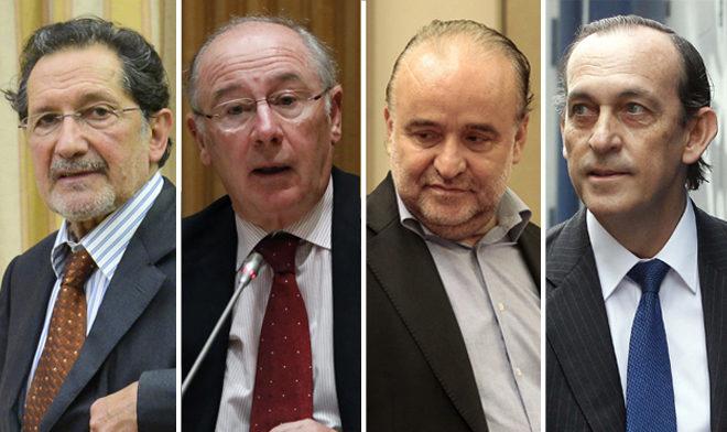 De izquierda a derecha, José Antonio Moral, Rodrigo Rato, Rodolfo Benito y Estanislao Rodríguez.