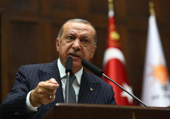 El presidente turco durante la reunión de su grupo parlamentario en la Asamblea Nacional, en Ankara.