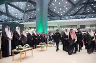 El rey de Arabia Saudí, la semana pasada, durante la inauguración ante autoridades del AVE a la Meca.